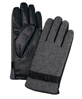 Dzianinowo skórzane szare rękawiczki 8,5