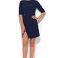 Niebieska elegancka sukienka z asymetrycznym rozporkiem