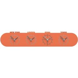 Zegar ze strefami czasowymi singapore calleadesign pomarańczowy 12-007-63