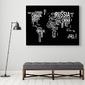 Typograficzna mapa świata - obraz designerski , wersja - na czarnym tle, wymiary - 115cm x 170cm