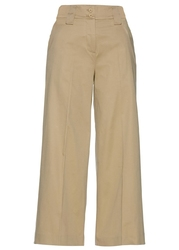 Spodnie culotte z wysoką talią bonprix beżowy