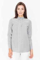 Szara koszula z długim rękawem z lamówkami