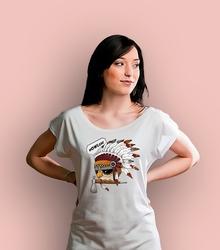 Indianulka t-shirt damski biały xxl