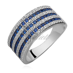 Srebrny pierścionek pr.925 cyrkonia biała i szafirowa