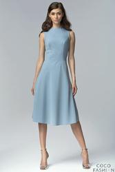 Niebieska Elegancka Rozkloszowana Midi Sukienka bez Rękawów