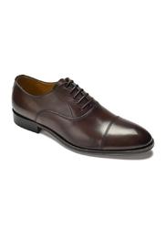 Eleganckie ciemne brązowe skórzane buty męskie typu Oxford 39,5