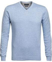 Błękitny sweter w serek  Profuomo z bawełny Pima L