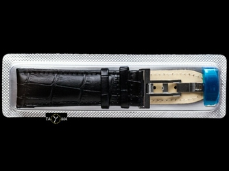 Pasek skórzany do zegarka - zapinka - czarny - 24mm
