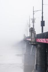 Warszawa Most we mgle - plakat premium Wymiar do wyboru: 60x80 cm
