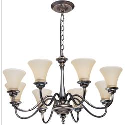 Lampa wisząca - czarny brąz i żółte, szklane klosze MW-LIGHT Neoclassic 102010308