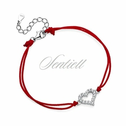 Srebrna pr.925 bransoletka z czerwonym sznurkiem - serce z cyrkoniami