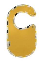 Śliniaczek ClickBibs żółty z lamówką w żółto-szare wzory