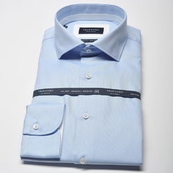 Elegancka błękitna koszula męska taliowana SLIM FIT z białymi wstawkami 41