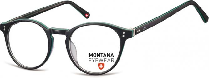 Okrągłe oprawki optyczne,lenonki korekcyjne Montana MA62E czarne + zielone