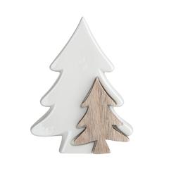 Ozdoba  dekoracja świąteczna  figurka dekoracyjna święta boże narodzenie altom design choinki porcelana - drewno 14 x 5 x 20 cm
