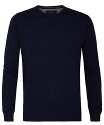 Granatowy sweter  pulower o-neck z bawełny pima  m