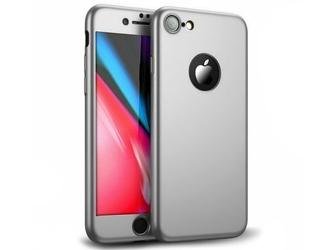 Etui full case 360º + szkło do apple iphone 78 srebrne - srebrny