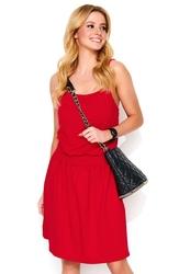 Czerwona letnia sukienka na cienkich ramiączkach