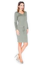 Zielona sukienka z długim rękawem wiązana w talii