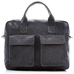 Czarna stylowa męska torba na ramię ze skóry naturalnej