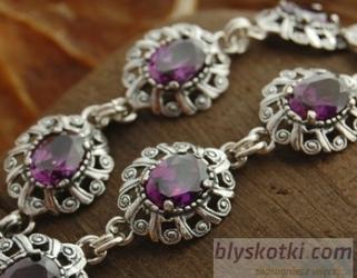 Ingrid - srebrna bransoletka z ametystem
