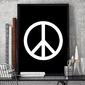 Peace - plakat designerski , wymiary - 18cm x 24cm, ramka - biała , wersja - na białym tle
