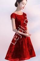 Krótka koronkowa sukienka wieczorowa ciemne wino yr041101