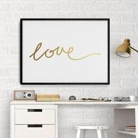 Love - plakat minimalistyczny ze złotym nadrukiem , wymiary - 70cm x 100cm, kolor ramki - biały, kolor nadruku - srebrny