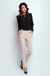 Beżowe klasyczne materiałowe spodnie w kant