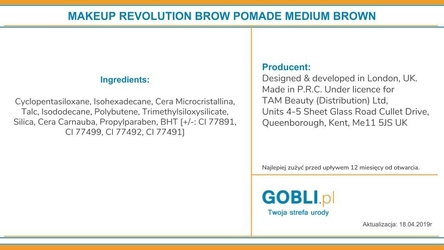 Makeup revolution brow pomade medium brown, pomada do brwi 2,5g