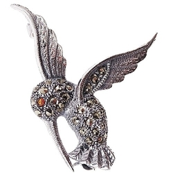 Tazzi srebrna broszka markazyty mała koliber