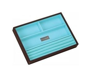Pudełko na biżuterię 4 komorowe classic Stackers czekoladowo-turkusowe