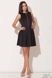 Czarna Rozkloszowana Sukienka z Ozdobnym Suwakiem