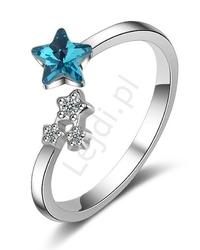 Posrebrzany uniwersalny pierścionek z gwiazdkami