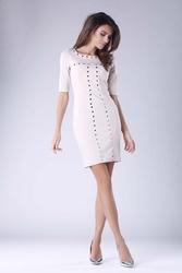 Beżowa mini ołówkowa sukienka z dżetami