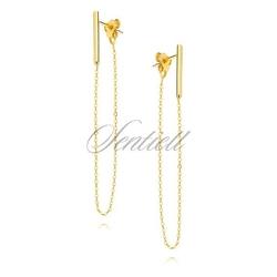 Srebrne kolczyki - pozłacane z łańcuszkiem - żółte złoto