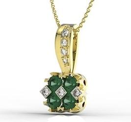 Wisiorek z żółtego złota ze szmaragdami i diamentami jpw-56z-r - szmaragd