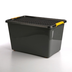 Pojemnik do przechowywania rzeczy  zabawek z pokrywką na kółkach orplast solid store szary 60 l