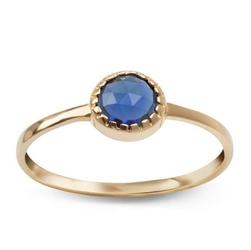 Staviori pierścionek. cyrkonia. żółte złoto 0,585.   model ozdobiono niebieską cyrkonią.