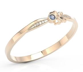 Pierścionek motylek z różowego złota z niebieską cyrkonią bp-89p-r-c - różowe z rodowaniem