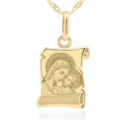 Złoty medalik z łańcuszkiem próba 585 matka boska z jezuskiem chrzest komunia grawer - białe z różową kokardką