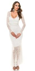 Biała koronkowa długa sukienka z koralikami i sztucznymi perełkami na wieczór | janina youssefian - ostatnia