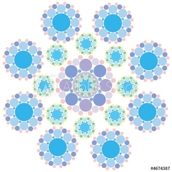 Plakat na papierze fotorealistycznym turkusowy niebieski i fioletowy kwiat płatka śniegu