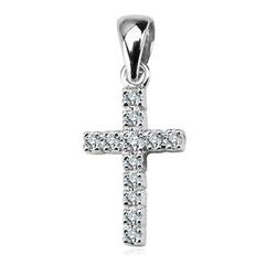 Staviori krzyż z białego złota z 12 diamentami, szlif brylantowy