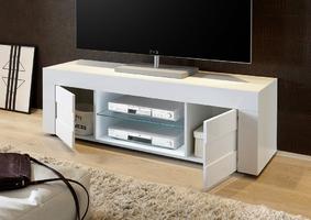 Szafka rtv easy dwudrzwiowa 138 cm biały lakier połysk+ laminat beton