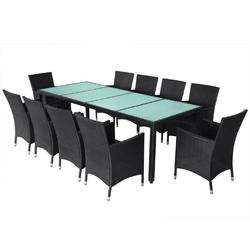 Zestaw ogrodowy stół + 10 krzeseł rayan czarny