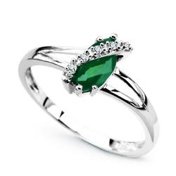 Staviori pierścionek. 5 diamentów, szlif brylantowy, masa 0,025 ct., barwa h, czystość i1. 1 szmaragd, masa 0,48 ct.. białe złoto 0,585. średnica korony ok. 5x10 mm.