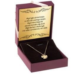 Złoty naszyjnik koniczynka celebrytka pr. 585 14 k grawer różowa kokardka