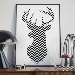 Jelonek skandynawski - plakat , wymiary - 30cm x 40cm, ramka - biała