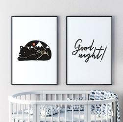 Zestaw dwóch plakatów - good night , wymiary - 20cm x 30cm 2 sztuki, kolor ramki - czarny